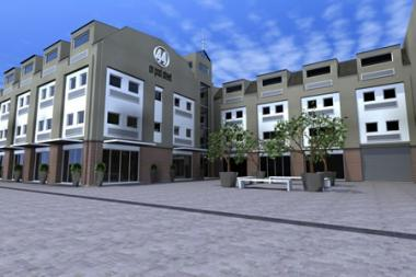 Artist's impression of '44 on Post Street', providing a perspective showing how the revamped FGI Building will appear.