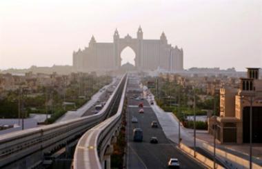 File photo shows an avenue leading to the Atlantis hotel on the Palm Jumeirah Island in Dubai, United Arab Emirates.