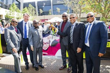 Seen at Central Square, Menlyn Maine ribbon cutting, were Billy Masetlha, Francois Roos, Ngoako Ramatlhodi, Gauteng Premier David Makhura, Cllr Randall Williams and Kapei Phahlamohlaka Property Investments PIC.