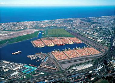 Aerial View of Durban Port.