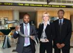 Izak Petersen (CEO of Dipula Income Fund), Brigitte de Bruyn (Financial Director, Dipula Income Fund) and Saul Gumede (Director, Dipula Income Fund) celebrate the listing of Dipula Income Fund on the JSE.