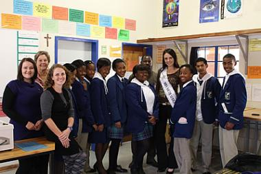 Mall of the North's general manager, Sumari de Ridder at Mitchell House school, along with Cindy Webster (Miss SA Finalist).