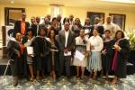 A group of Ithala learnership graduates receive their certificates from Milpark Business School
