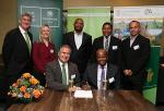 Representatives of Nedbank, DBSA and Dept. of Environmental Affairs signed the agreement to jointly fund the development of approximately 400 affordable green housing units in Western Cape and Gauteng.