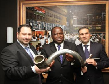 The Directors at Accelerate Property Fund, CEO Michael Georgiou (Left) seen with Tito Mboweni and Andrew Costa (COO) during the JSE listing event in 2013.