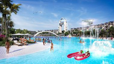 Artist impression showing Balwin Properties' R9bn Munyaka Crystal Lagoon development with 5,020 apartments in Waterfall, Midrand.