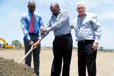 Polokwane Mayor Freddy Greaverr, Sam Mabotja and Jannie Moolman at the turning of the first sod on the 15000 square metre shopping centre in Seshego outside Limpopo's capital Polokwane.