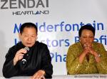 Shanghai Zendai founder and chairman, Zikhang Dai seen with Gauteng Premier Nomvula Mokonyane announcing plans to build a new city centre in Modderfontein east of Johannesburg.