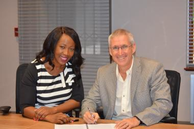 Zukiswa Ntlangula President of The Black Conveyancers Association (BCA) with SAPOA President Mike Deighton