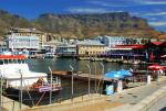 Cape Town's working harbor, the V&A Waterfront with Table Mountain in the background.