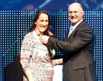 Estienne de Klerk, the Immediate Past President of the South African Property Owners Association, right, hands over the reins to new President, Amelia Beattie, during the SAPOA Convention in Cape Town last week.