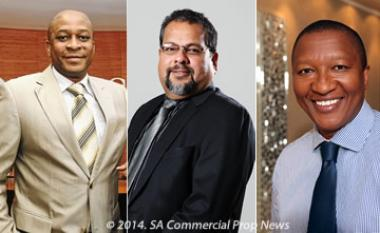 Delta Property Fund CEO Sandile Nomvete (left), ceases battle with Rebosis Property Fund CEO Sisa Ngebulana (right) on Ascension Properties co-founder Shaun Rai (center).